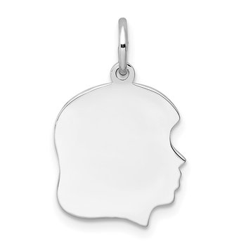 Sterl Silver Rh-plt Engraveable Girl Polished Front/Satin Back Disc Charm