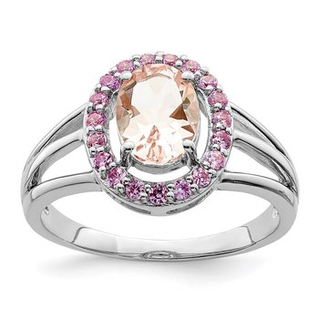 Sterling Silver Rhodium Morganite & Pink Sapphire Oval Ring