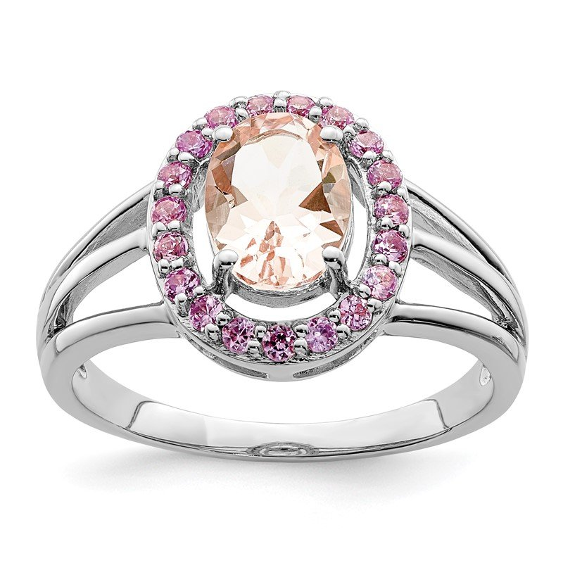 Quality Gold Sterling Silver Rhodium Morganite & Pink Sapphire Oval Ring