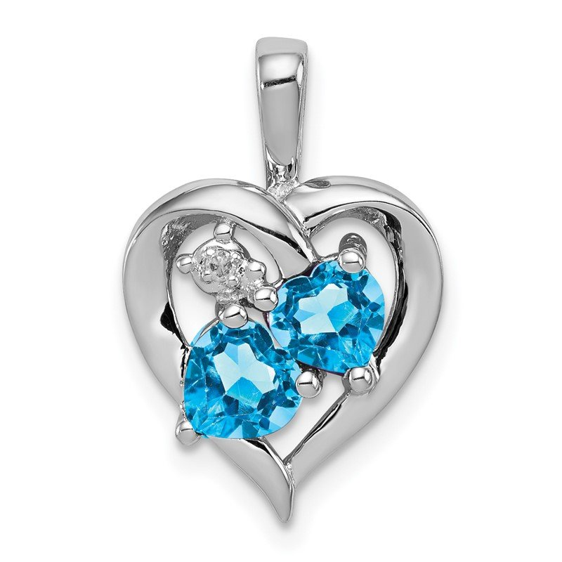 Quality Gold Sterling Silver Rhodium-plated Blue Topaz Diamond Pendant