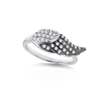 Diamond Angel Wing Ring in 14k White Gold with 39 Diamonds weighing .32ct tw