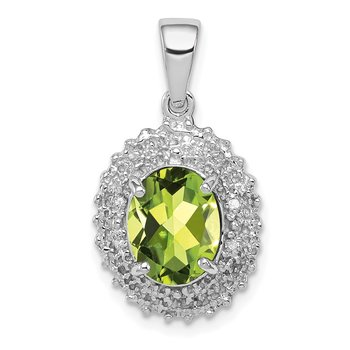 Sterling Silver Rhodium Peridot & Diamond Pendant