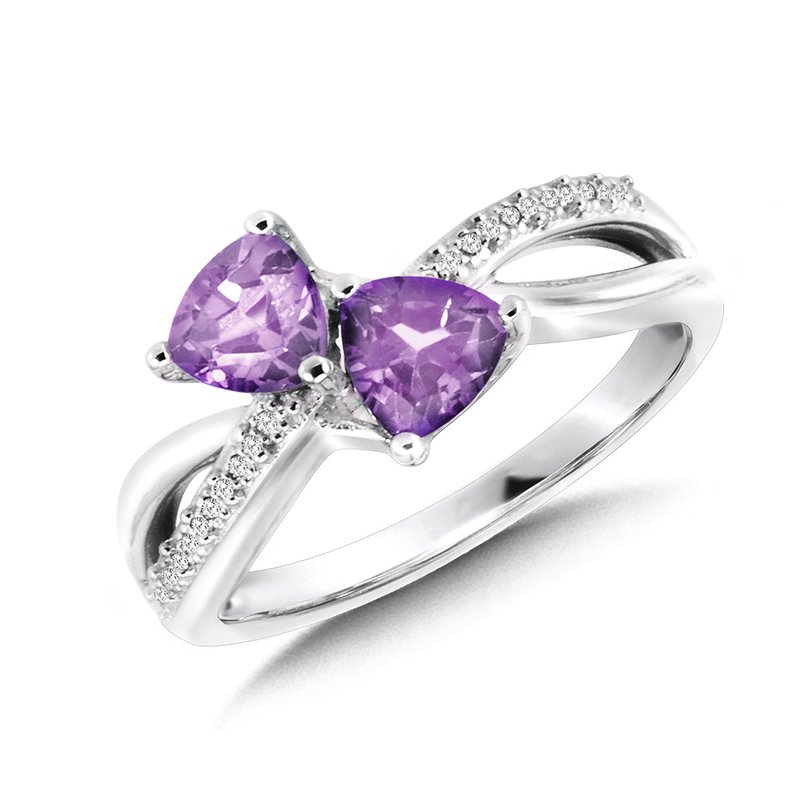 SDC Creations Trillion-Cut  Amethyst and Diamond Criss-Cross Ring