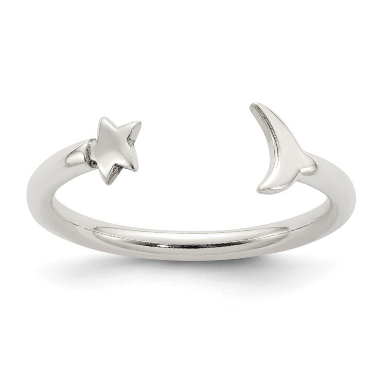 Quality Gold Sterling Silver Polished Half Moon and Star Adjustable Ring