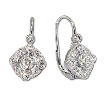 Diamond Lever Earrings