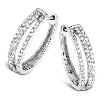 Pave Set set Diamond Triple Hoop Earrings in 14k White Gold (1/2 ct. tw.) JK/I1