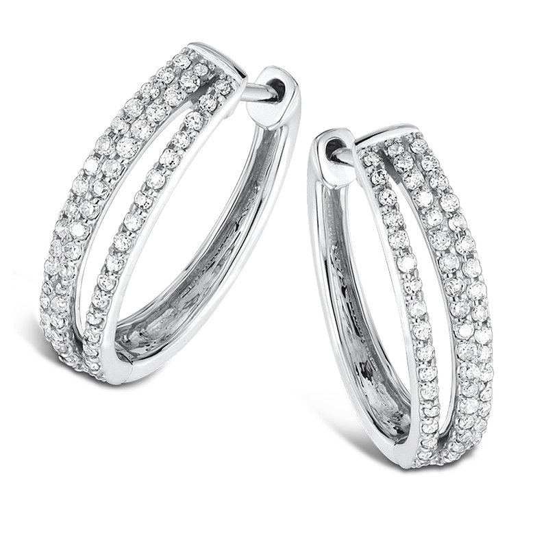 SDC Creations Pave Set set Diamond Triple Hoop Earrings in 14k White Gold (1/2 ct. tw.) JK/I1