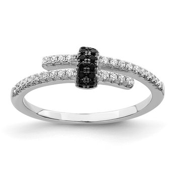 Sterling Silver Brilliant Embers Rhodium-plated Black Spinel and CZ Ring