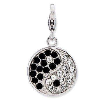Sterling Silver Enameled 3-D Yin Yang Sign w/Lobster Clasp Charm