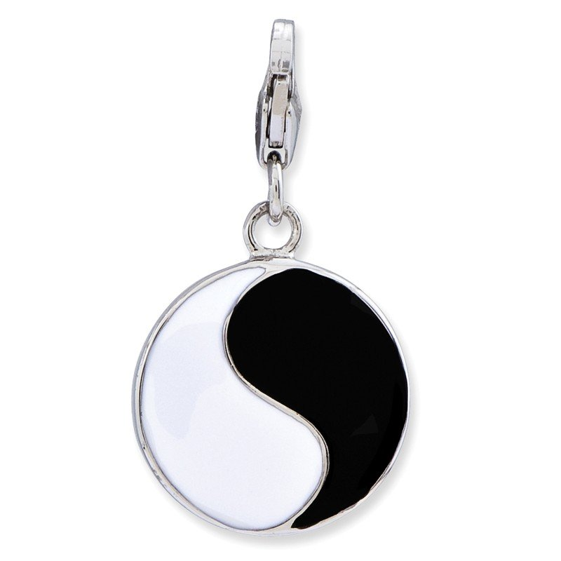 SS RH Enameled 3-D Yin Yang Sign w/Lobster Clasp Charm