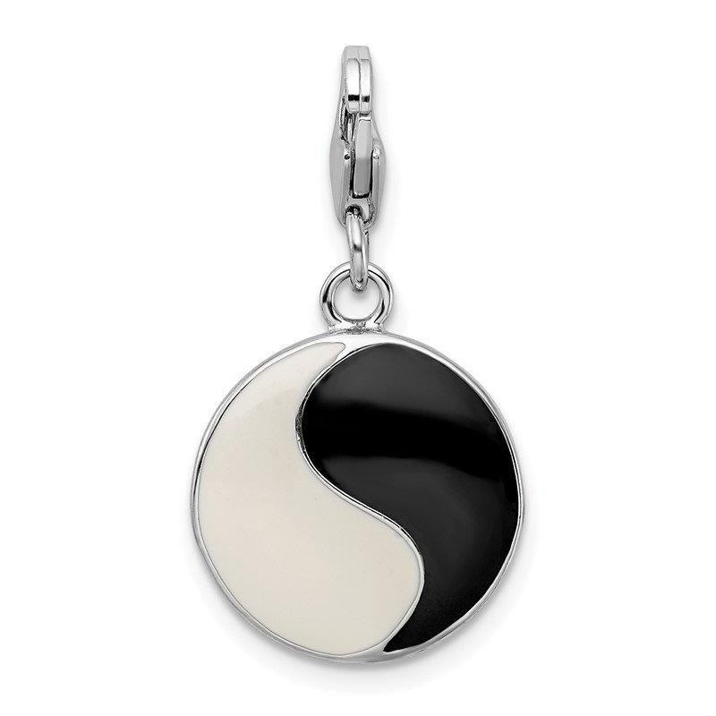 Quality Gold Sterling Silver Amore La Vita Rhodium-pl Enameled 3-D Yin Yang Sign Charm