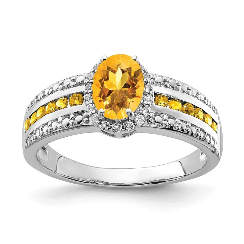 Quality Gold Sterling Silver Rhodium-plated Citrine and White Topaz Ring