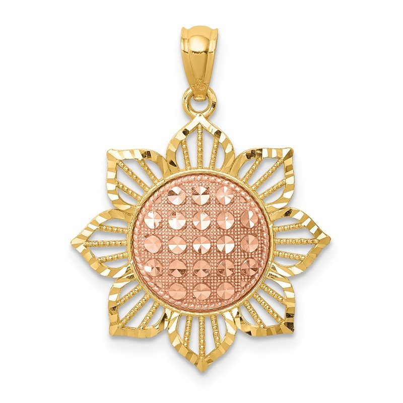 Quality Gold 14K Two-Tone D/C Sunflower Pendant