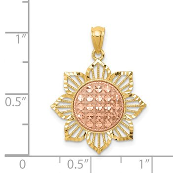 14K Two-Tone D/C Sunflower Pendant