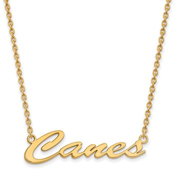 Gold-Plated Sterling Silver University of Miami NCAA Necklace