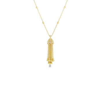 18K Y PRINCESS DIAMOND TASSEL NECKLACE