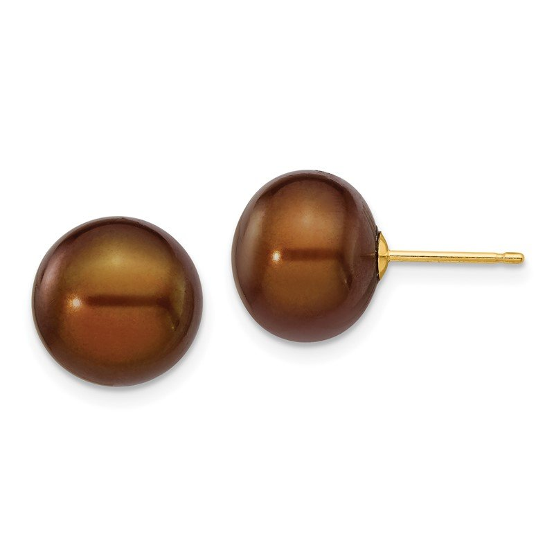 Quality Gold 14k 10-11mm Coffee Button Freshwater Cultured Pearl Stud Post Earrings