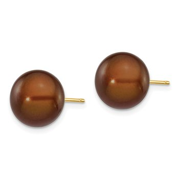 14k 10-11mm Coffee Button Freshwater Cultured Pearl Stud Post Earrings