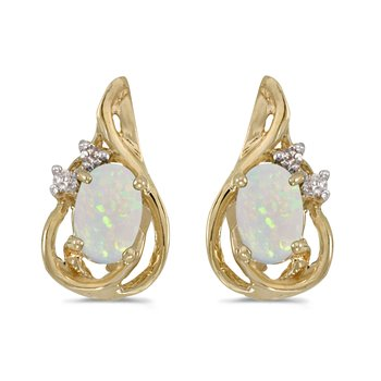10k Yellow Gold Oval Opal And Diamond Teardrop Earrings