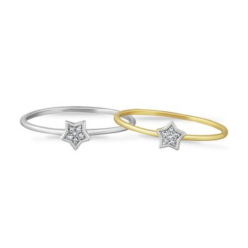 14K STAR RING WITH 6 DIAMONDS 0.06CT