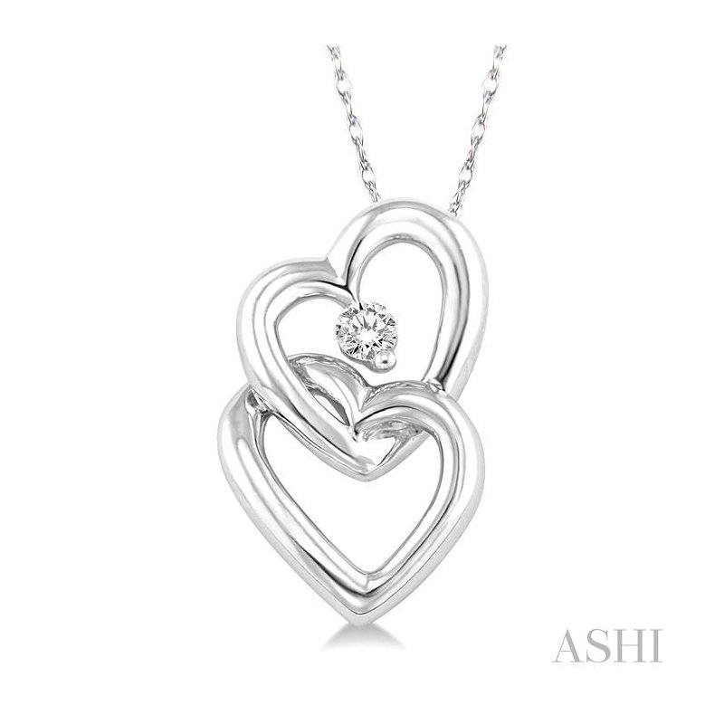 ASHI twin heart shape diamond pendant