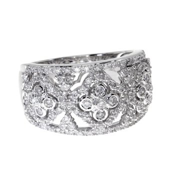 14k  White Gold Diamond Clover Fashion Band