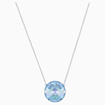Globe Necklace, Blue, Rhodium plated