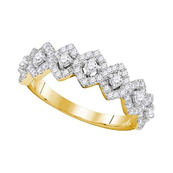 14kt Yellow Gold Womens Round Diamond Diagonal Square Single Row Band 1.00 Cttw