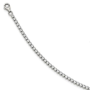Sterling Silver Polished CZ Tennis Bracelet