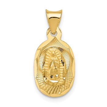 14K Polished D/C Lady Of Guadalupe Oval Pendant