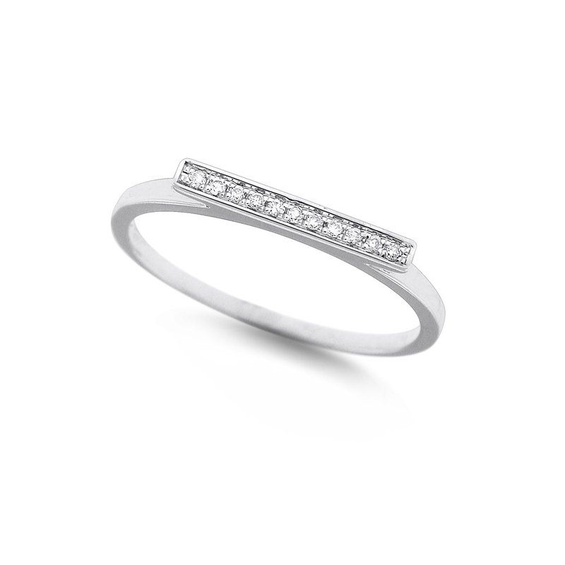 MAZZARESE Fashion Diamond Bar Stack Ring in 14K White Gold with 11 Diamonds Weighing .05 ct tw