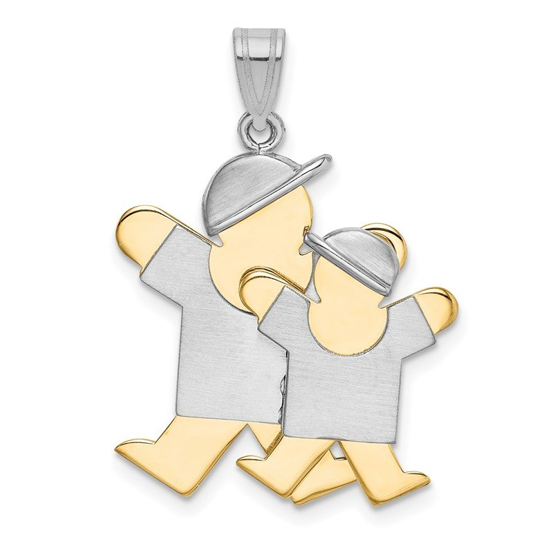 Quality Gold 14k Two-Tone Big Boy and Little Boy Engravable Charm