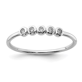 Sterling Silver Rhodium-plated 5-Bezel CZ Ring