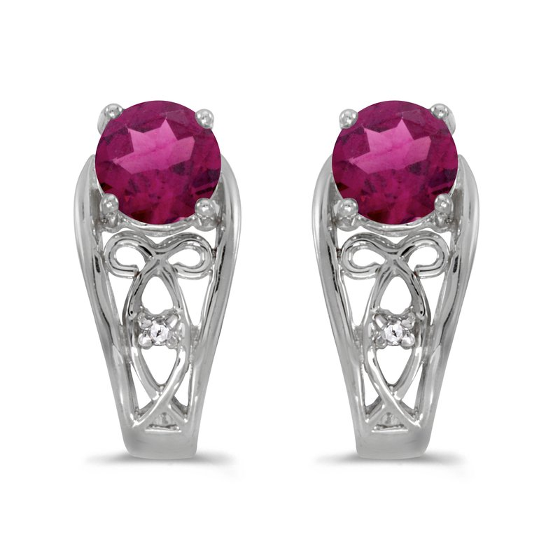 Color Merchants 10k White Gold Round Rhodolite Garnet And Diamond Earrings