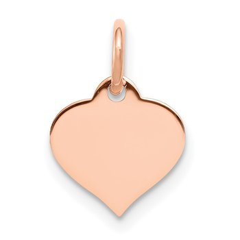14k Rose Gold Heart Disc Charm