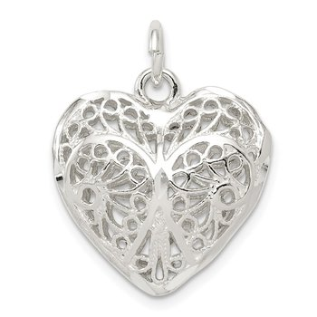 Sterling Silver Fancy Filigree Puffed Heart Charm