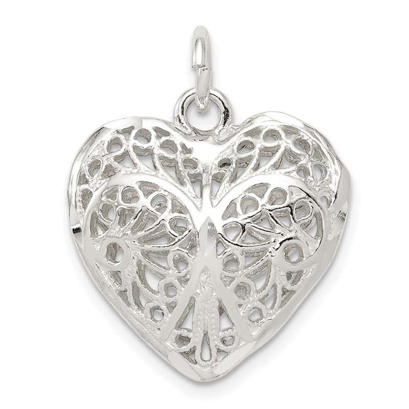 Quality Gold Sterling Silver Fancy Filigree Puffed Heart Charm