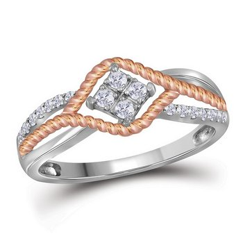 10kt Two-tone Gold Womens Round Diamond Rope Rose-tone Band Ring 1/5 Cttw