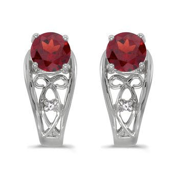 14k White Gold Round Garnet And Diamond Earrings