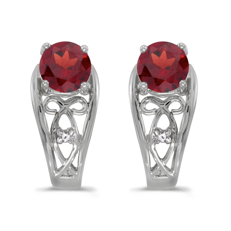 Color Merchants 14k White Gold Round Garnet And Diamond Earrings
