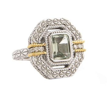 18KT AND STERLING SILVER GREEN AMETHYST & DIAMOND RING