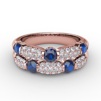 Major Moves Sapphire and Diamond Double Row Ring