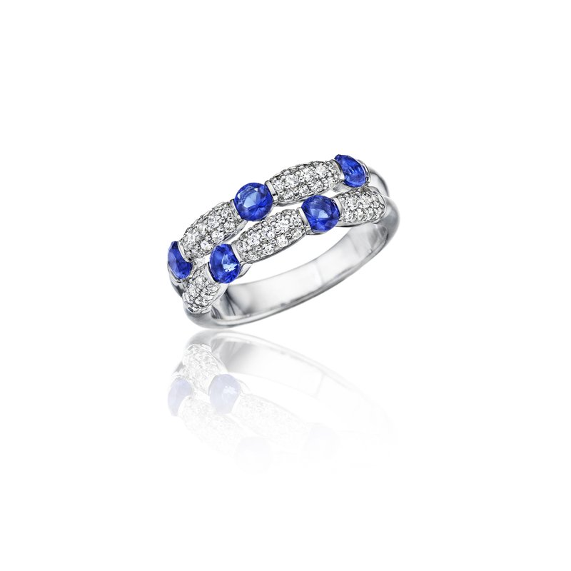 Fana Major Moves Sapphire and Diamond Double Row Ring