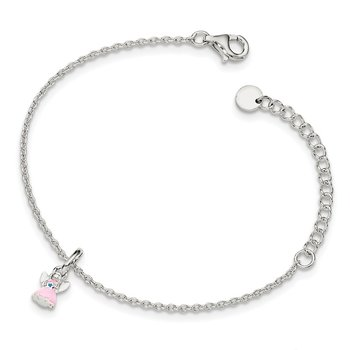 Sterling Silver w/ 1.5in ext Pink Enamel Angel Kid's Bracelet