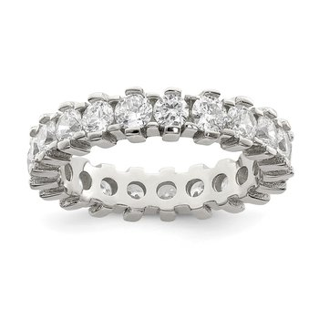 Sterling Silver Rhodium-plated CZ Eternity Band