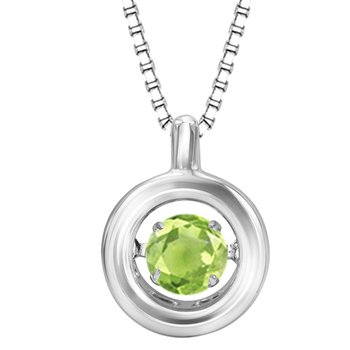 Silver Peridot Rhythm Of Love Pendant