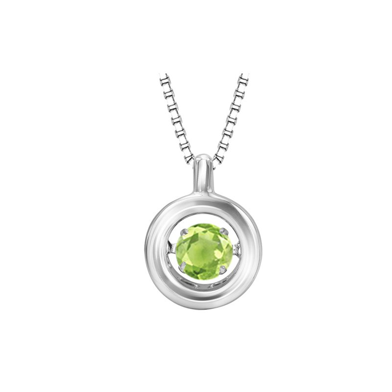 Necker's Signature Collection Silver Peridot Rhythm Of Love Pendant