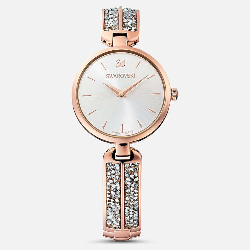 Swarovski Dream Rock Watch, Metal Bracelet, Silver tone, Rose-gold tone PVD