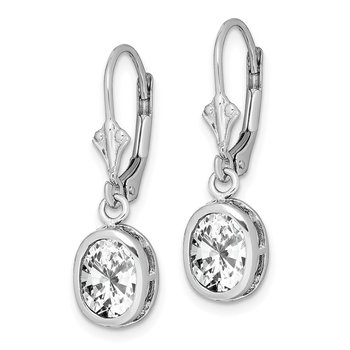 Sterling Silver Rhodium 8x6mm Oval CZ Leverback Earrings