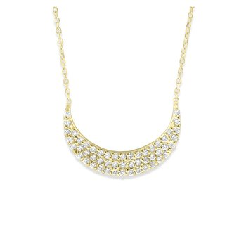 Diamond Crescent Moon Necklace in 14K Yellow Gold with 51 Diamonds Weighing .35 ct tw